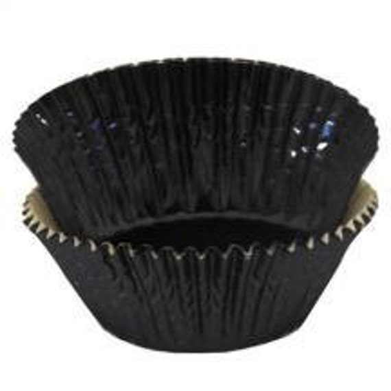 BLACK Foil Cupcake Baking Muffin Liners Cups Cake Pops 45 Standard size 2""