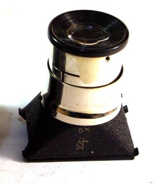 USSR Vintage Metal 5x Tabletop Loupe MAGNIFIER in Box -from RussianVintage