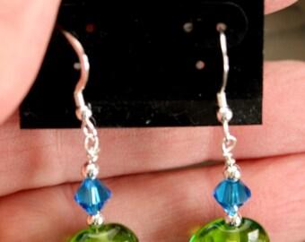 Sea Blue and Green Lampwork Earrings