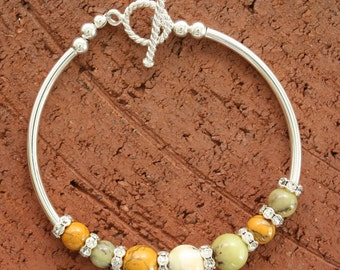 Sterling Silver Curved Tube Bracelet with Yellow Moss Agate
