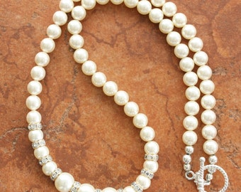 Love is in the Air Wedding Bridal Swarovski Pearl Necklace Sterling Silver Toggle Clasp