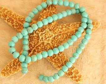 Full Strand of Turquoise  Magnesite Round 6mm Beads