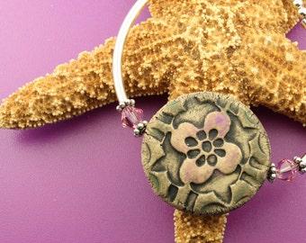 Pink Flower Sterling Silver Bangle Bracelet OOAK