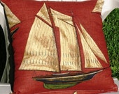 ONE Brick red tall ship throw pillow slipcover 18 inches by 18 inches