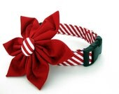 Christmas Dog Collar and Flower Accessory - Red Peppermint Stick