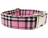 Pink Plaid Dog Collar Pretty In Pink Nickel Buckle
