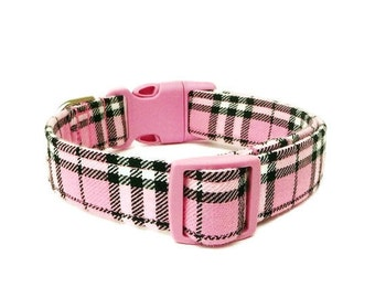 Pink Plaid Dog Collar - Pretty In Pink - Pink Buckle