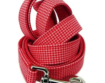 Houndstooth Dog Leash - Red and Pink