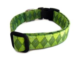 Argyle Dog Collar - Grass Green Argyle
