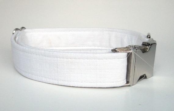 Wedding Dog Collar - White Linen