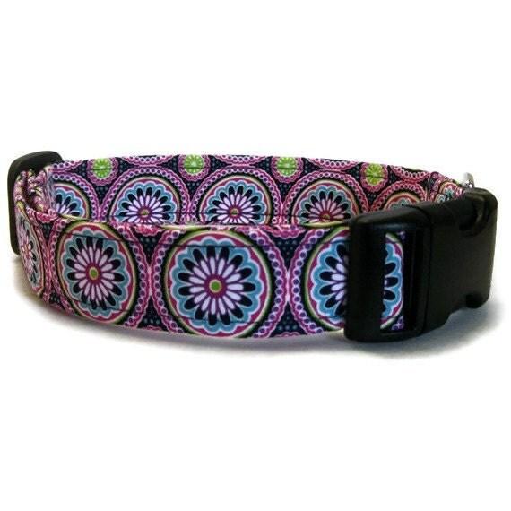 Designer Dog Collar in Purple Jewel Garden