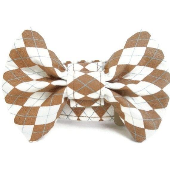 Argyle Bow Tie Dog Collar - Butterscotch Argyle
