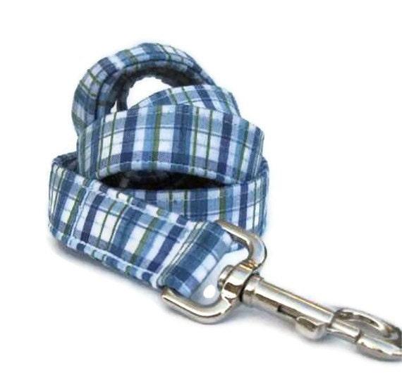 Blue Plaid Dog Leash - The Day Sailor