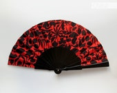 Flamenco Vacation hand fan - black lacquered