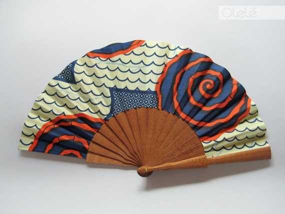 Wooden hand fan with leather sleeve - Red Spiral Wax print- 1AS