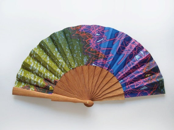 Neon Grafitti - Left handed hand fan with case - 1AS