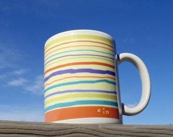Beach Colors Striped Ceramic Mug