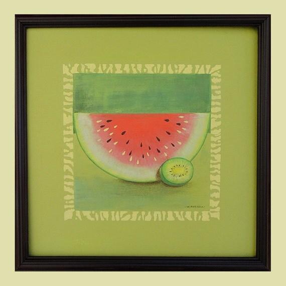 Framed Original Painting Watermelon Meets Kiwi