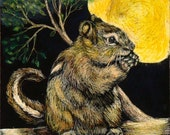 Chipmonk in the Moonlight Scratch Art Colored Pencil 5 1/2 x 7 inch, Featured in CP Magazine