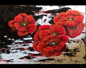 Abstract Poppies Acrylic Red White Black 36 x 24 inch Dramatic