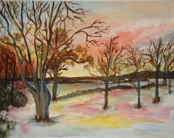 Winter Trees in Snow Painting Watercolor Mixed Medium