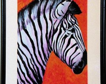 Zebra, Acrylic Painting, Framed Original Painting, Wild Zebra Art