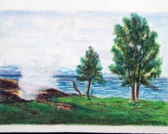 Yellowstone Lake Wyoming,  ACEO, Original One of a kind, Colored Pencil ACEO