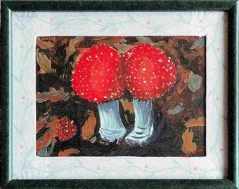 Acrylic Painting Fly Agaric Mushrooms Framed 11 x 14