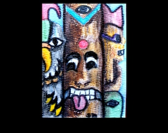 Abstract ACEO Totems Mixed Media Watercolor Colored Pencil Ink