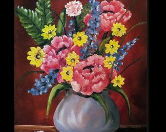 Pink and yellow Flowers, Oil Floral Still Life Painting, Original Oil Painting, 11 x 14 Oil Painting