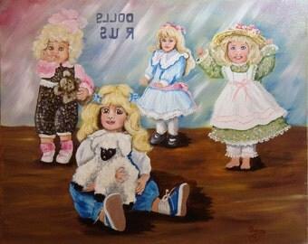 Original Oil Painting, Dolls R US, Doll shop painting, Gift of Dolls, 16 x 20 oil Painting, OOAK Art