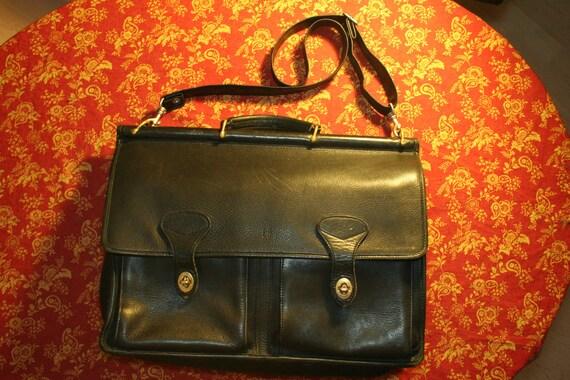 Vintage Black Leather Briefcase / Messenger Bag by Jack Georges