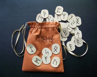Runes-Leather with Leather Pouch - Made to Order