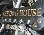 "Listing for a 30"" x 10"" Sign - Custom Engraved Red Oak Pet Leash Hanger for business or home"
