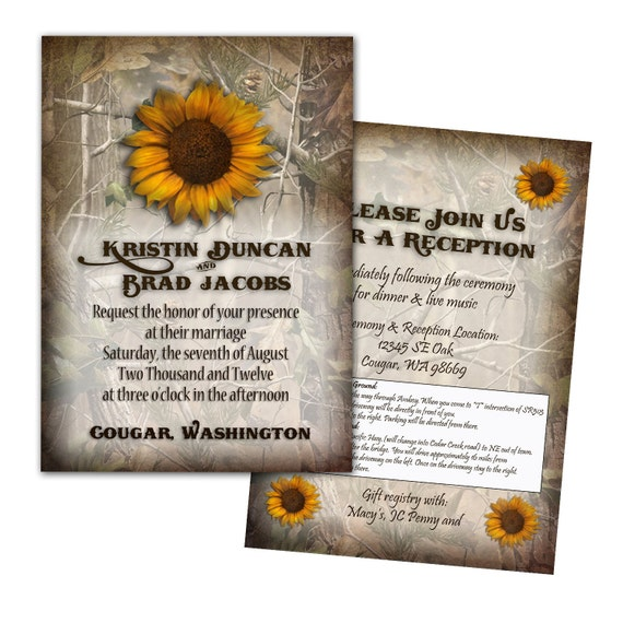 Camouflage Wedding Invitations: Items Similar To Camo Wedding Invitation 25 Count On Etsy
