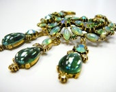 Reserved Vintage signed Florenza Brooch Pin Moonstone Green Opal