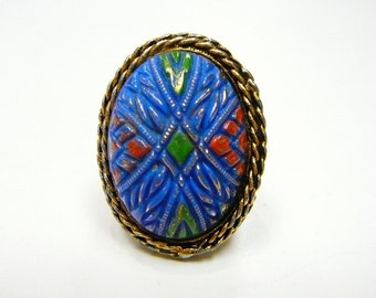 Large Vintage Carved Blue Glass with Enamel Egg adjustable Ring