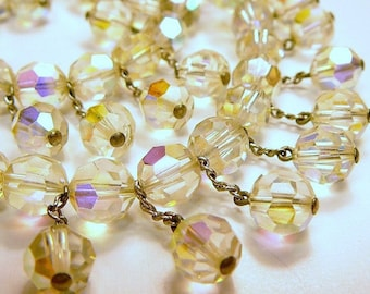 Vintage faceted Crystal Bead 16 inch Choker Necklace