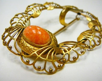 Antique Victorian Nouveau Glass Sash  Pin Brooch Buckle Faux Coral