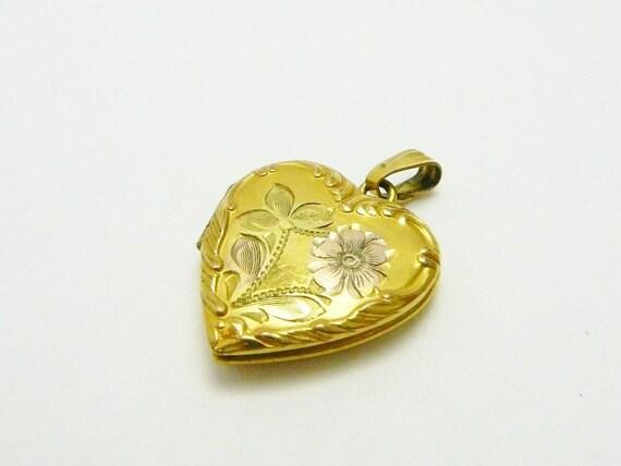 Reserved Brooke Vintage Art Noveau 12k Gold Filled Heart Charm Photo Locket