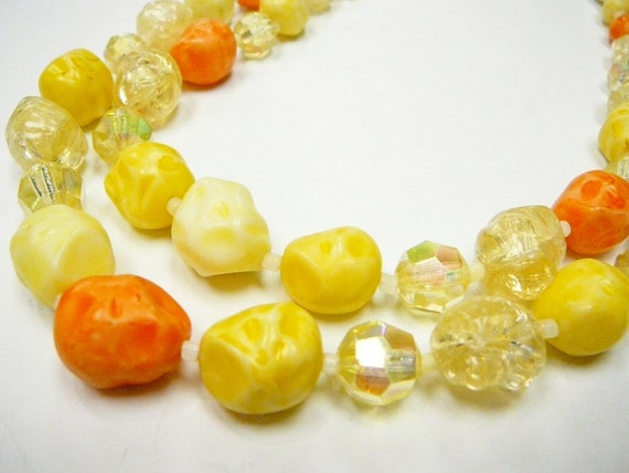 Vintage Made in West Germany  Immitation Lampwork Glass Bead 2 strand Necklace