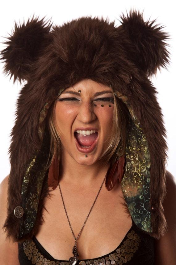 Faux Fur Brown Bear Half Hat SALE
