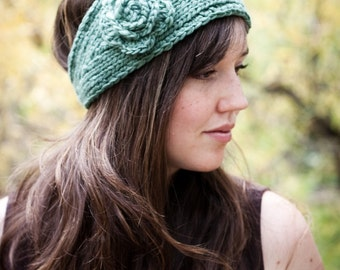 PATTERN Flower Headband Earwarmer (Knit and Crochet Pattern) PDF