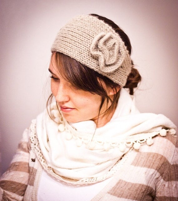 Knit Headband Pattern With Crochet Flower : KNITTING PATTERN Strictly Knit Flower Headband Ear Warmer PDF