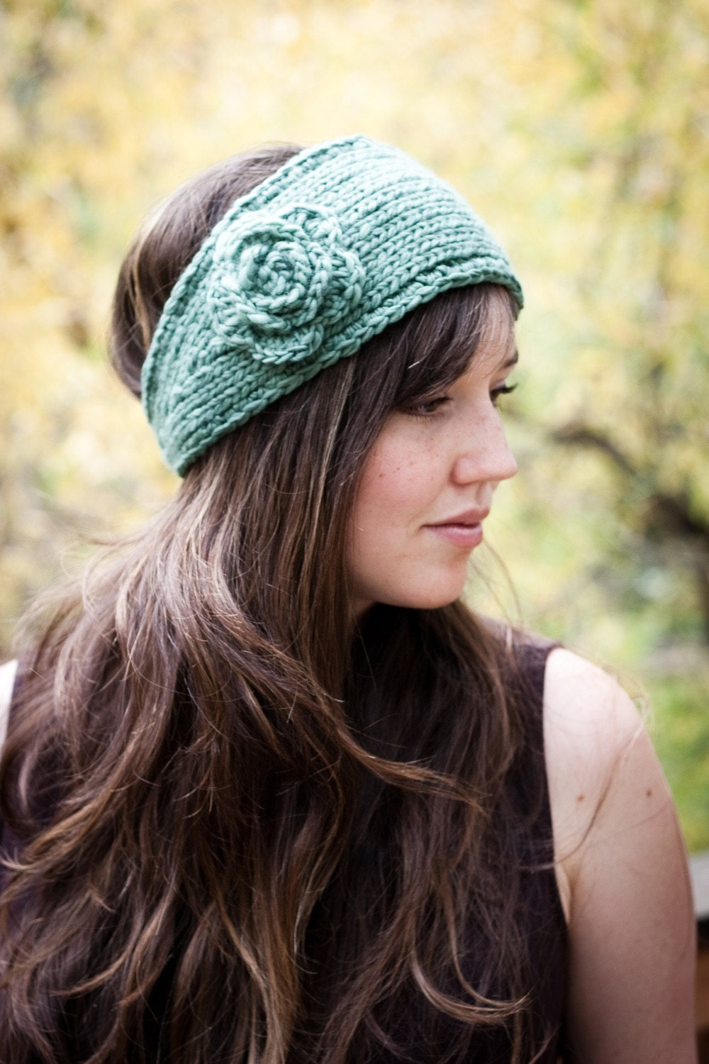 Free Knitted Headbands Patterns : PATTERN Flower Headband Earwarmer Knit and Crochet Pattern