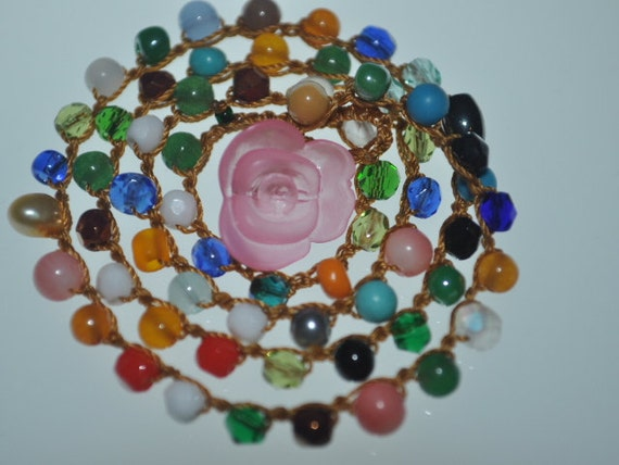 RESERVED FOR JENNIE Multi Colored Beaded crocheted necklace with a  Rose closure with a matching necklace for a special little girl