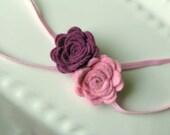 Pink Purple Felt Rosette Flower Pink Skinny Elastic Headband