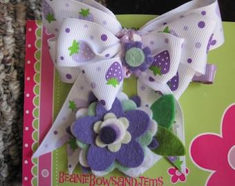 Pretty Blossoms Bow and Clippie Set - Purple