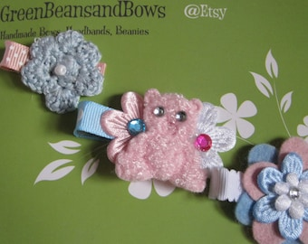 Baby Blue and Pink Trio, Hair Clippies
