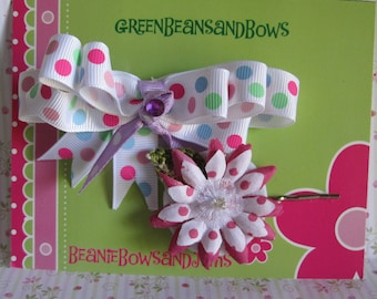 Polka Dot Bow and Bobby Pin Flower